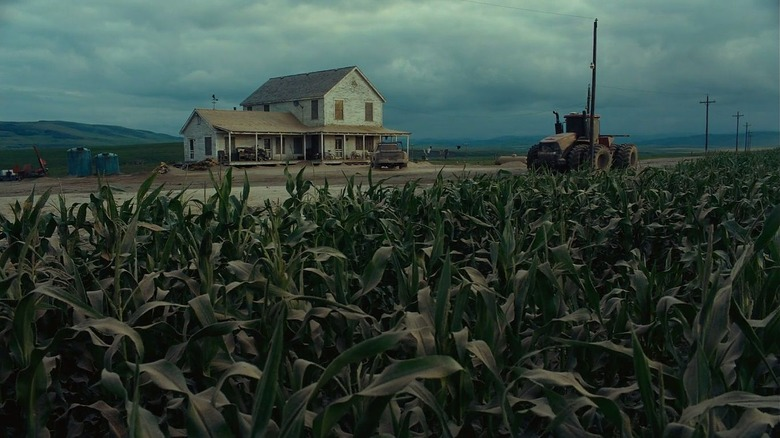 Interstellar corn field and mountains