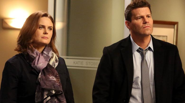 Emily Deschanel as Bones and David Boreanaz as Booth on Bones