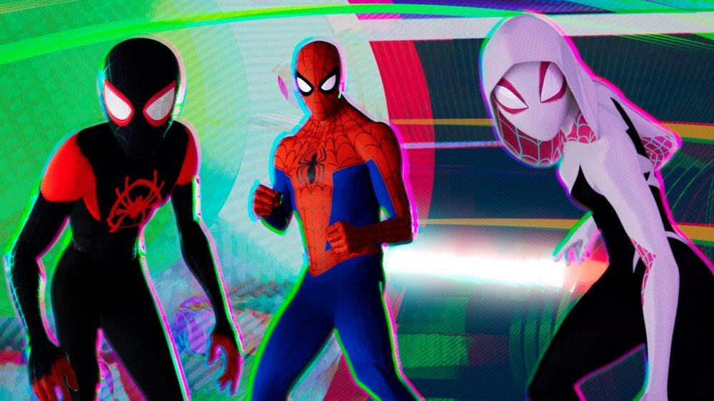Miles Morales, Spider-Man, and Spider-Gwen in Spider-Man Into the Spider-Verse