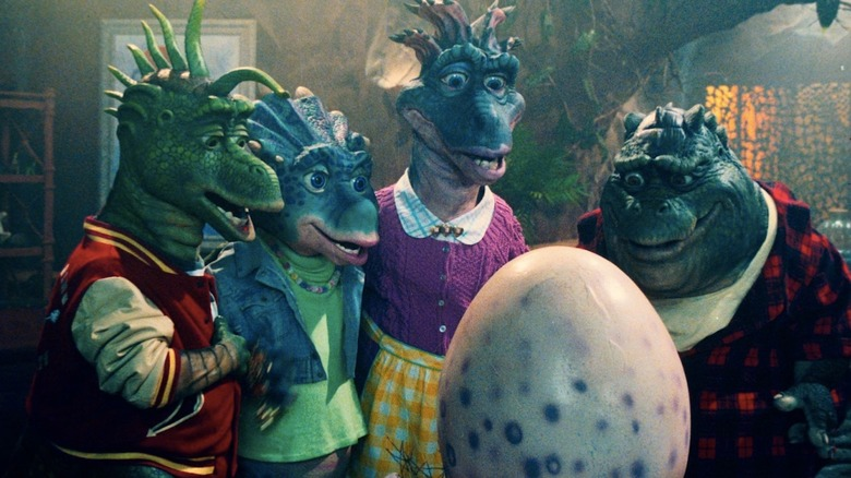 Dinosaurs waiting for Baby Sinclair hatch