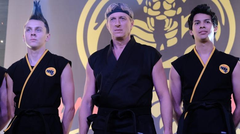 Xolo Maridueña, William Zabka, and Jacob Bertrand on Cobra Kai