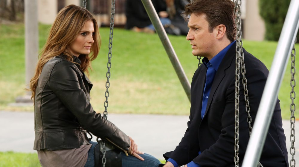 Stana Katic and Nathan Fillion investigate a case on Castle