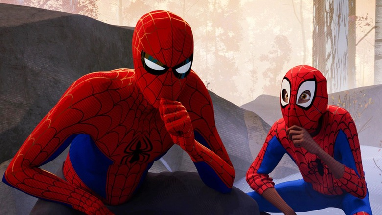 Miles Morales and Peter B. Parker form a plan in Spider-Man: Into the Spider-Verse
