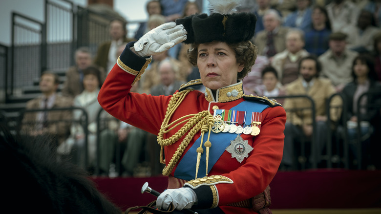 Queen Elizabeth II (Olvia Colman) at the Trooping of the Colours on The Crown Season 4