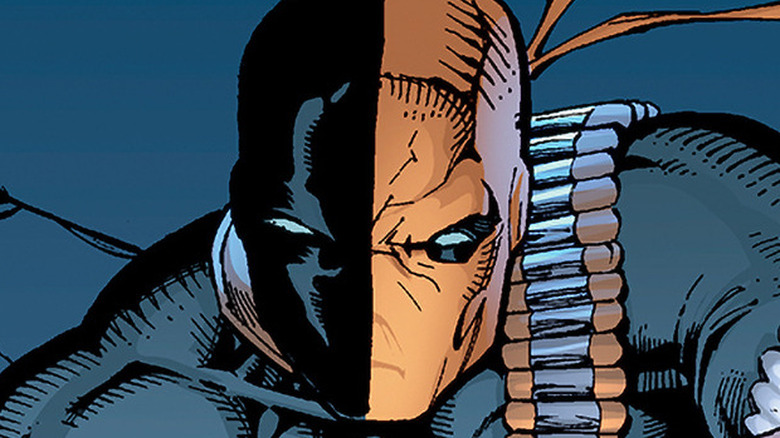 Deathstroke the Terminator squinting thoughtfully