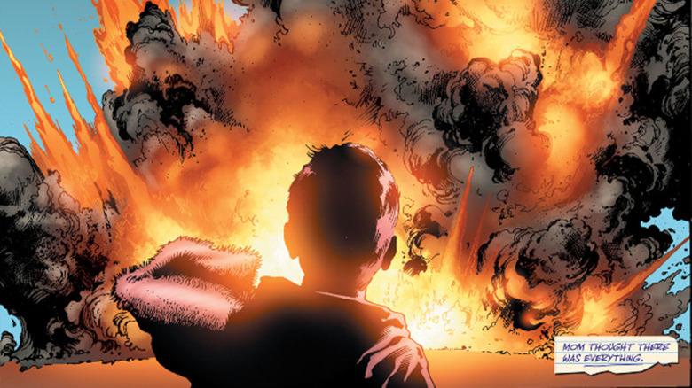 Hal Jordan watching a plane crash