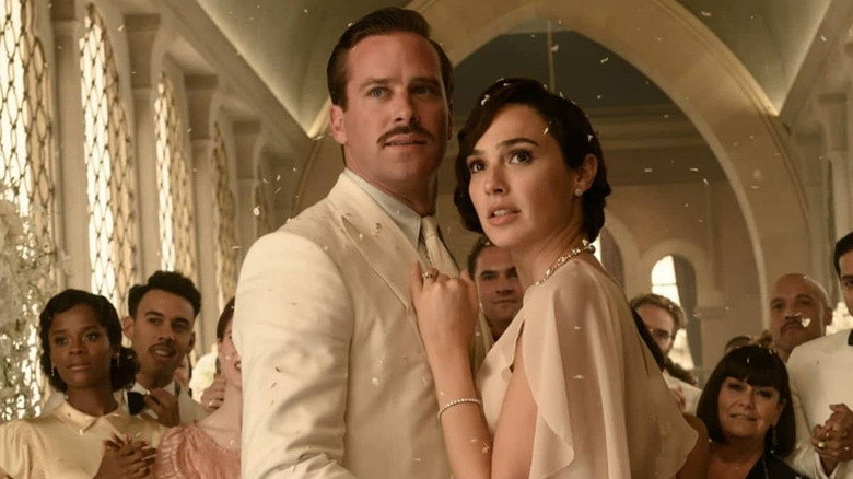 Armie Hammer and Gal Gadot in white in Death on the Nile