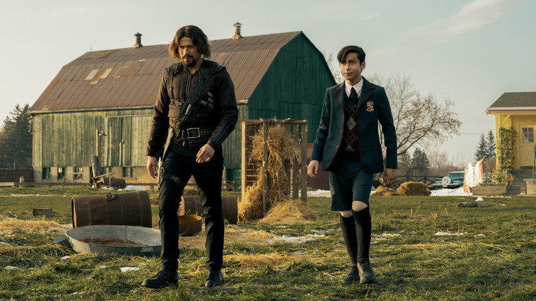David Castañeda as Diego and Aidan Gallagher as Number Five on The Umbrella Academy