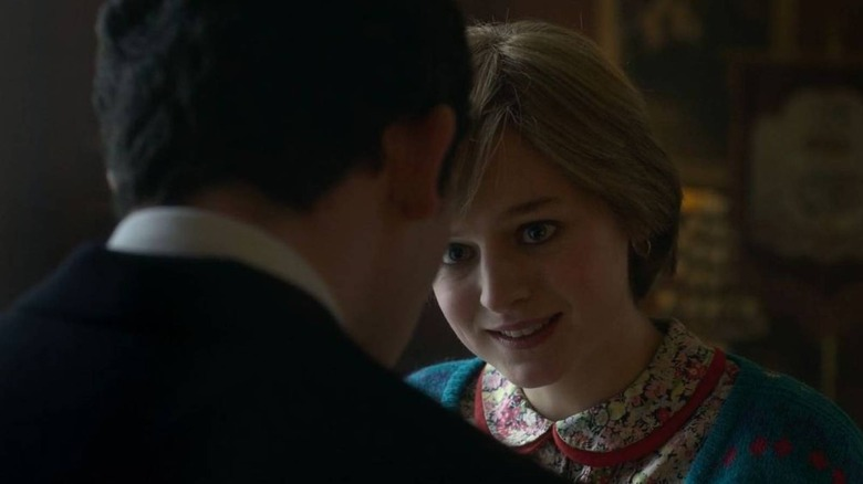 Princess Diana looks at Prince Charles on Netflix's The Crown