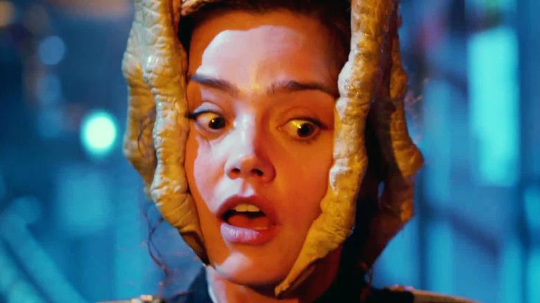 Jenna Coleman as Clara in Skaldak hands on Doctor Who