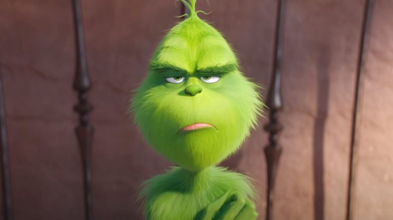 The Grinch, voiced by Benedict Cumberbatch, in the 2018 film of the same name