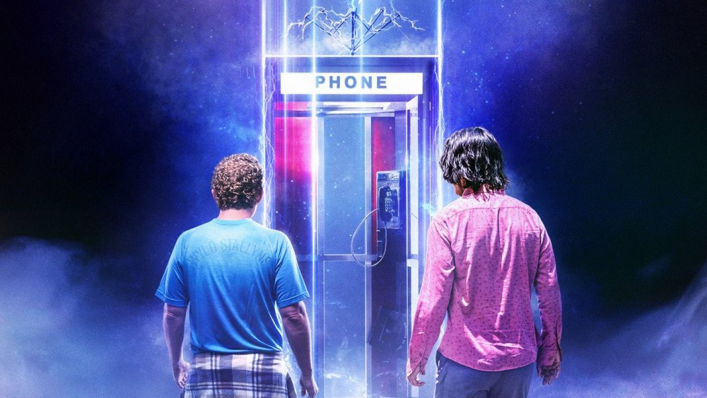 Bill & Ted Face the Music poster art featuring Bill, Ted, and the iconic phone booth