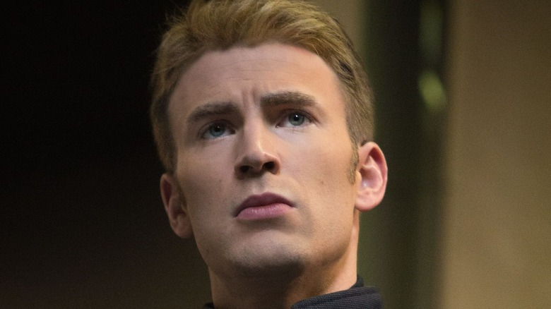 Captain America staring