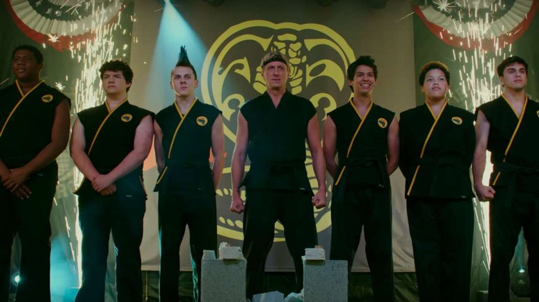 William Zabka and the rest of the Cobra Kai dojo on Cobra Kai