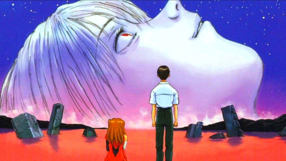 Shinji, Asuka, and Rei on End of Evangelion's cover