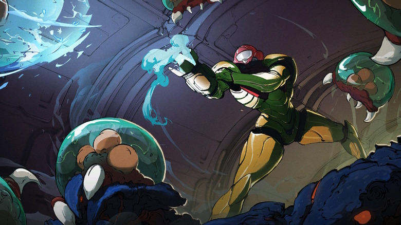 Samus surrounded by creatures