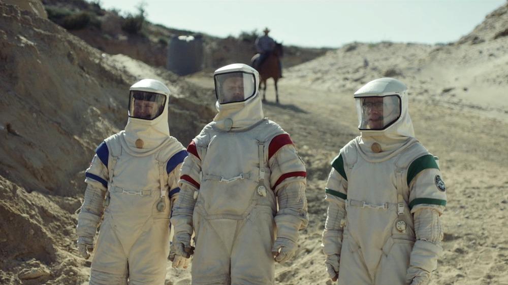 Fred Armisen, Tim Heidecker, and John C. Reilly as Skip, Rook, and Cap on Moonbase 8