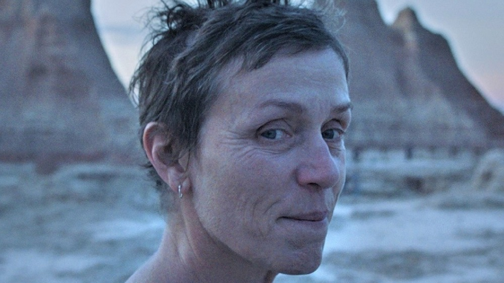 Frances McDormand stands in front of mountains in Nomadland