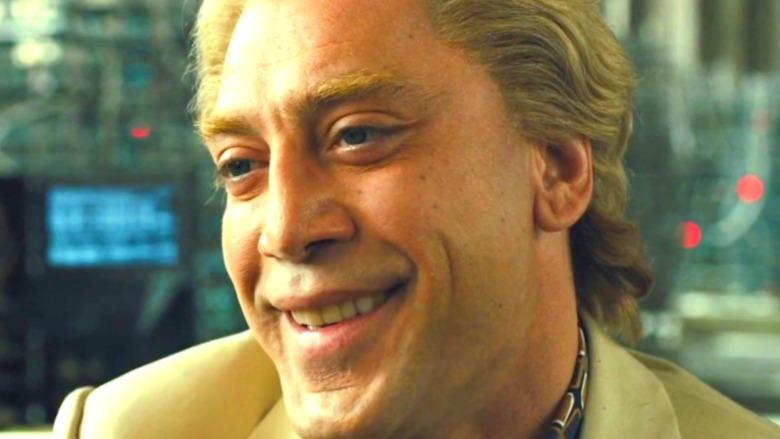 Raoul Silva grinning creepily in James Bond