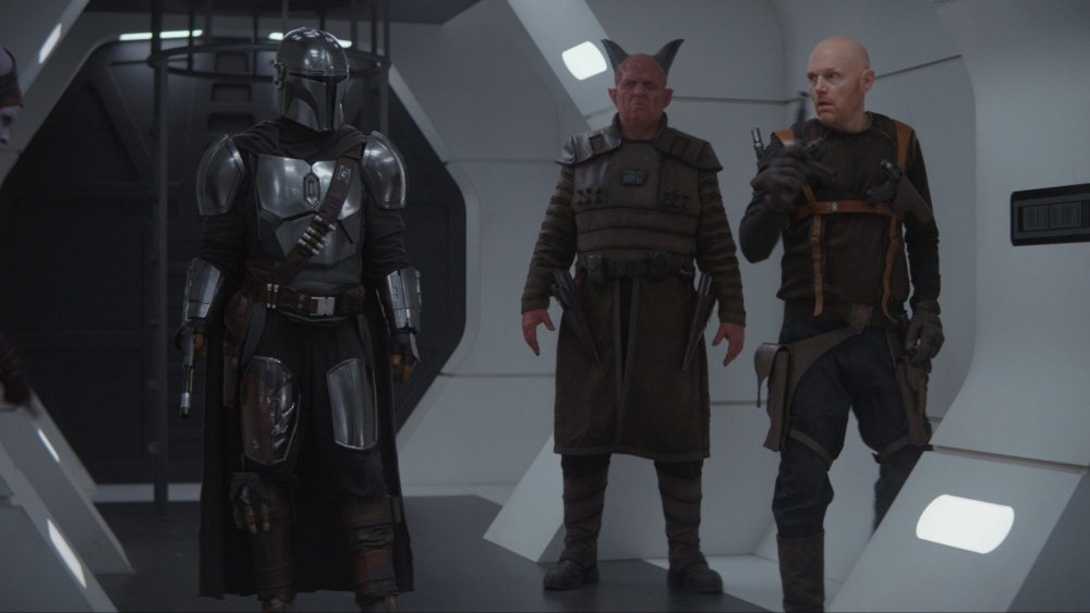 Pedro Pascal as The Mandalorian, with Clancy Brown and Bill Burr as Burg and Mayfield