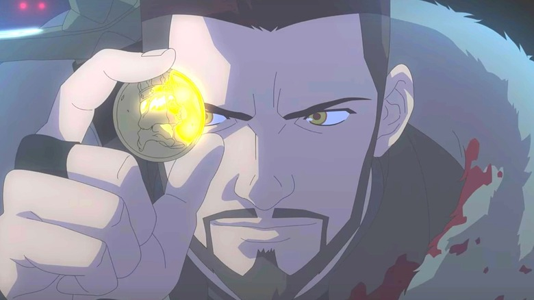 Animated Vesemir holding a coin
