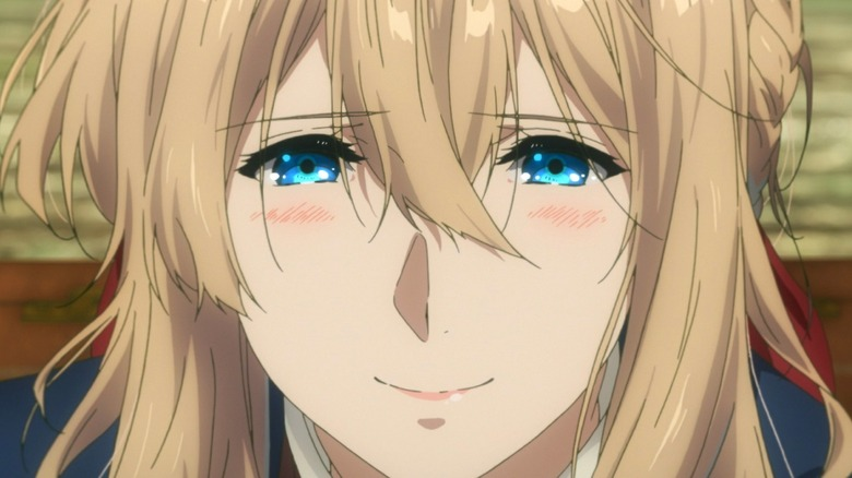 Violet smiling and blushing