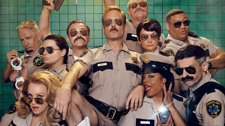 The cast of Reno 911! in a promo for season 7 on Quibi