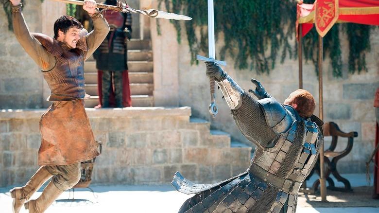Pedro Pescal as Oberyn Martell and Hafþór Júlíus Björnsson as Gregor Clegane on Game of Thrones