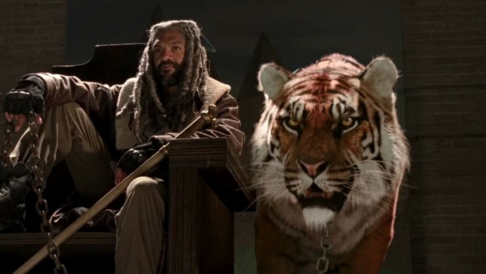 King Ezekiel (Khary Payton) and his beloved pet tiger Shiva on The Walking Dead