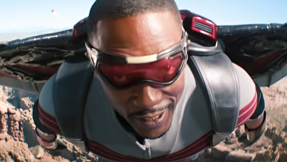Anthony Mackie flying as Falcon in The Falcon and the Winter Soldier