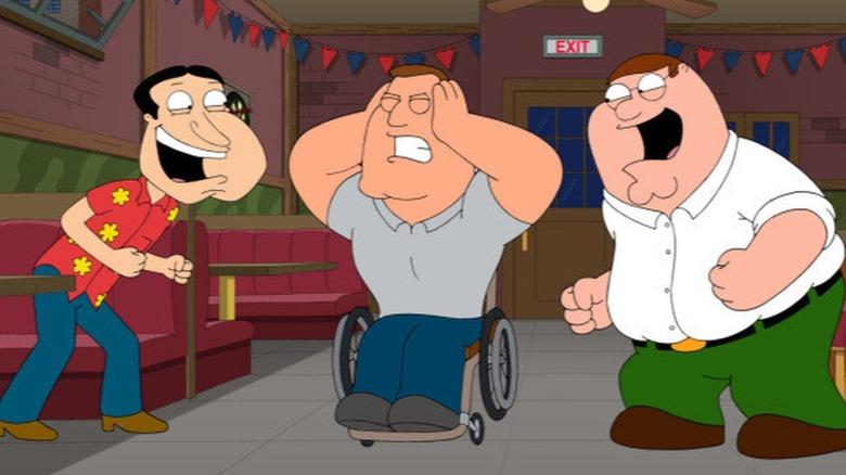 Quagmire and Peter annoying Joe