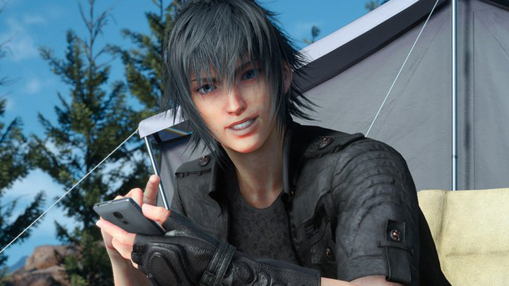 Prince Noctis Using Cell Phone