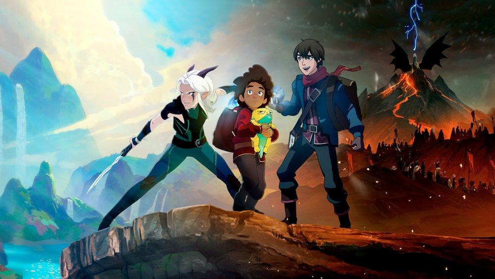 Callum, Ezran, and Rayla in The Dragon Prince
