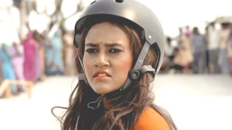 Prerna with helmet