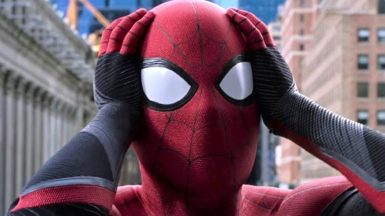 Spider-Man hands on head