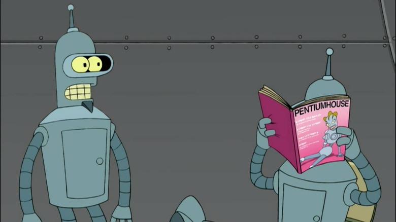 Flexo and Bender are frenemies on Futurama