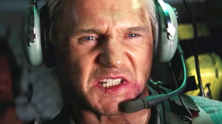 Liam Neeson gritting his teeth