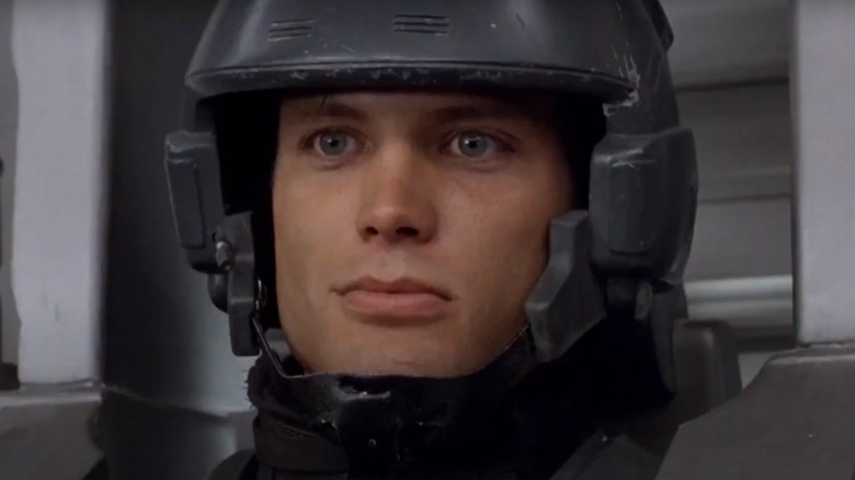Johnny Rico, suited up for battle
