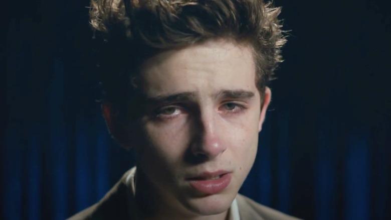 Timothée Chalamet crying