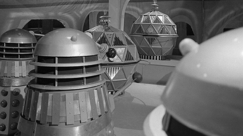 The Daleks face the Mechanoids in the Doctor Who episode The chase