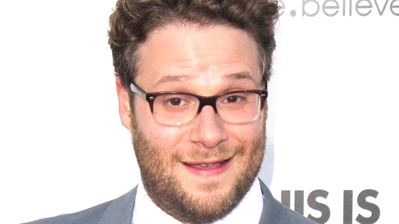 Seth Rogen wearing glasses and smiling