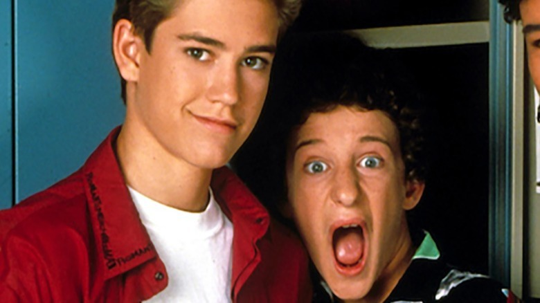 Zack puts Screech in a locker on Saved by the Bell