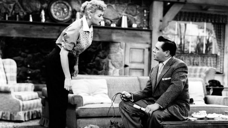 Lucy and Ricky Ricardo talking