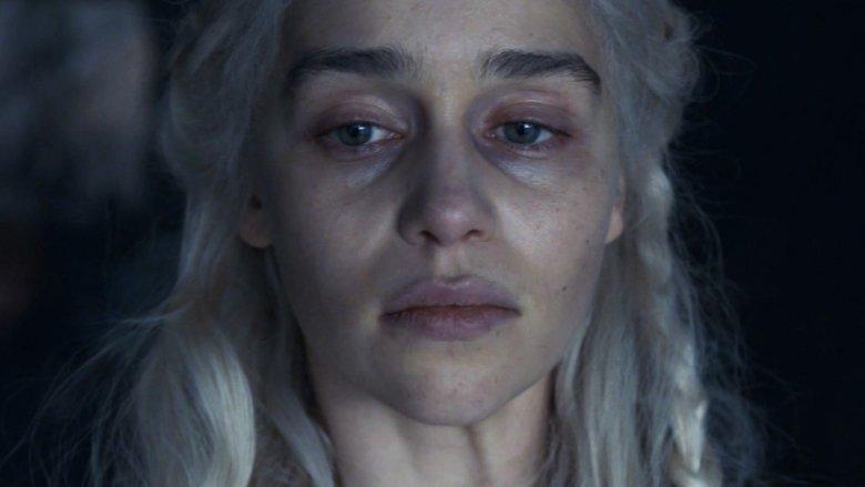 Emilia Clark as Daenerys Targaryen on Game of Thrones season 8 episode 5 The Bells