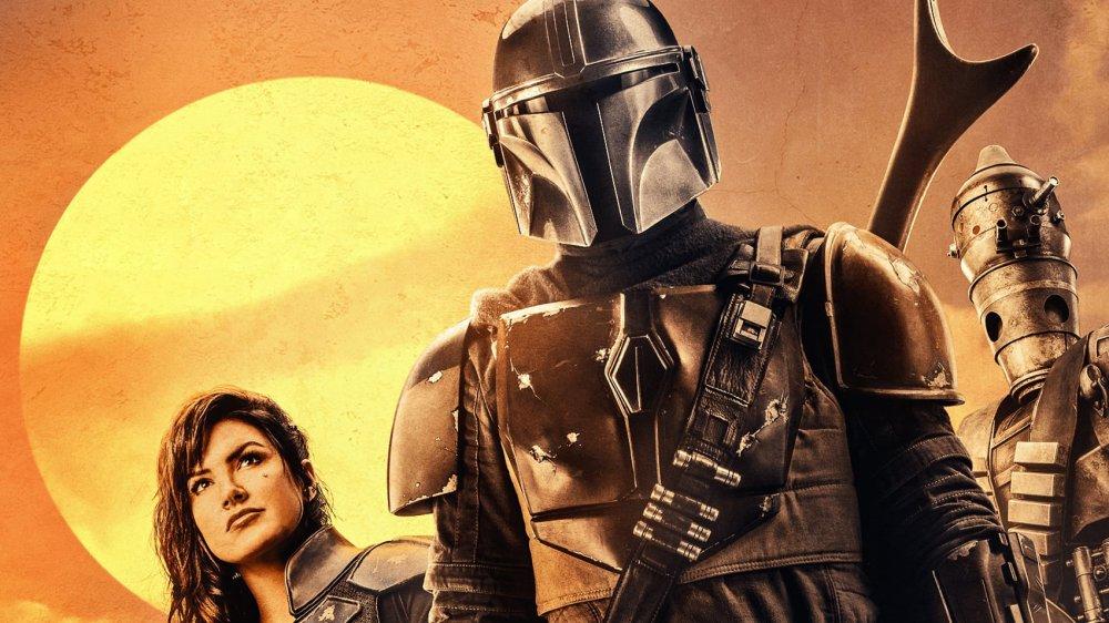 Pedro Pascal as Mando and Gina Carano as Cara Dune on The Mandalorian promo poster