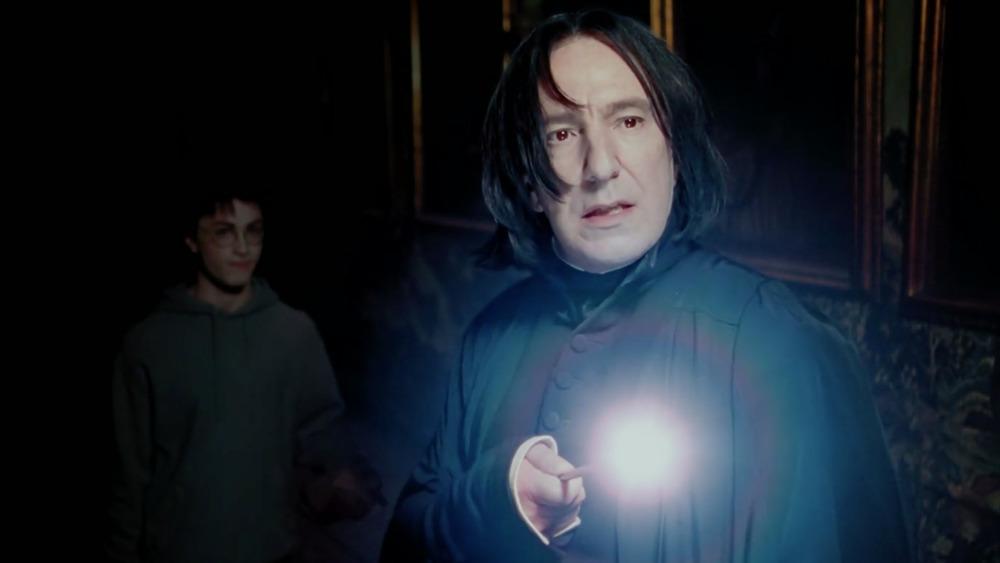 Snape illuminates his wand