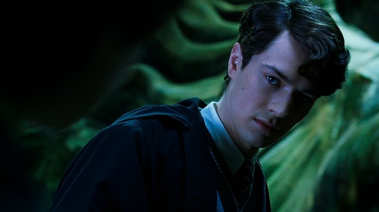 Tom Riddle creepily looming in the Chamber of Secrets