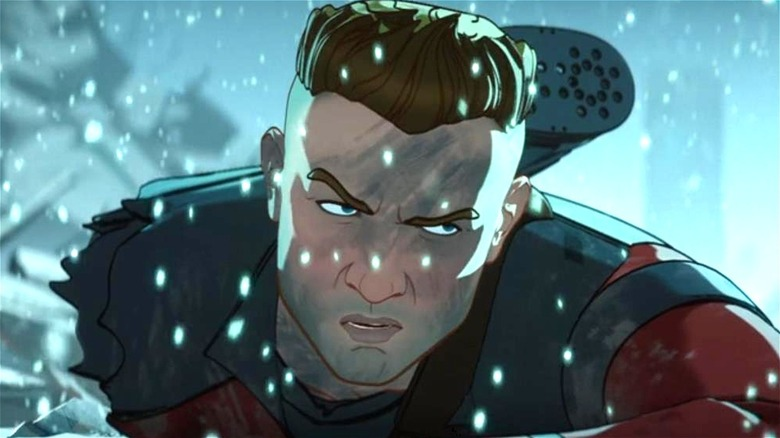 Hawkeye frowning in the snow
