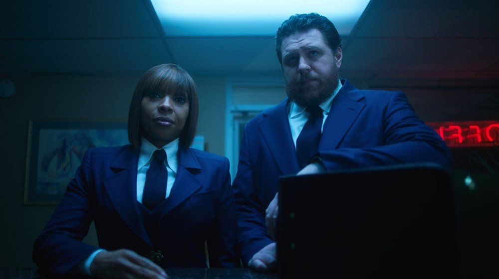Cameron Britton and Mary J. Blige as Hazel and Cha-Cha in Netflix's The Umbrella Academy