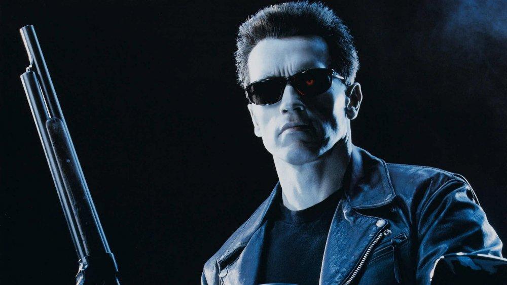 Arnold Schwarzenegger on the Terminator 2: Judgment Day poster